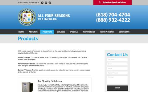Screenshot of Products Page allfourseasons.com - Products | All Four Seasons A/C & Heating, Inc. - captured Oct. 8, 2017