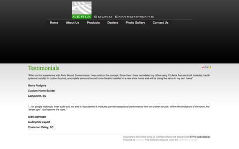 Screenshot of Testimonials Page aeria.ca - Testimonials - captured Oct. 4, 2014