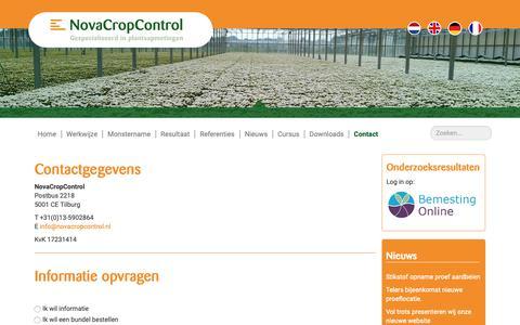Screenshot of Contact Page novacropcontrol.nl - Contact - Nova Crop Control - captured Nov. 15, 2018