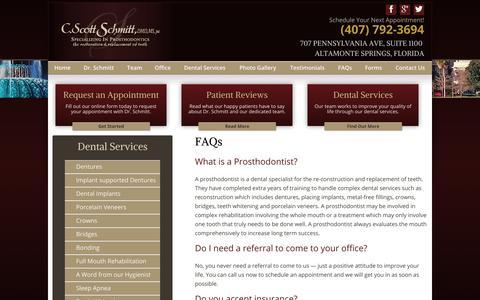 Screenshot of FAQ Page schmittprosthodontics.com - FAQs | Schmitt Prosthodontics - captured Sept. 30, 2014