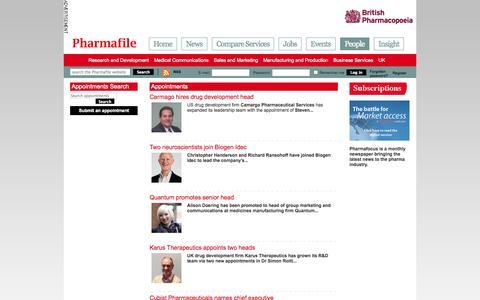 Screenshot of Team Page pharmafile.com - Appointments | Pharmafile - captured Nov. 2, 2014