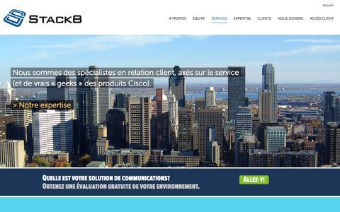 Screenshot of Home Page stack8.com - Stack8 | Experts en communications unifiées Cisco, intégrations et solutions Cisco, experts en telecom, réseaux et sécurité - captured Oct. 7, 2014