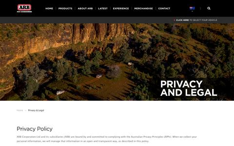 Screenshot of Privacy Page arb.com.au - ARB 4×4 Accessories | Privacy & Legal - ARB 4x4 Accessories - captured June 29, 2017