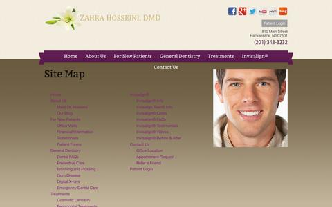 Screenshot of Site Map Page dentacarenj.com - Site Map - Hackensack NJ | Zahra Hosseini, DMD - captured Oct. 5, 2014