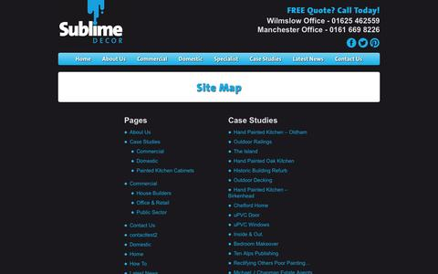 Screenshot of Site Map Page sublimedecor.co.uk - Site Map | Painters & Decorators in Manchester & Cheshire | Sublime Decor - captured Sept. 30, 2014