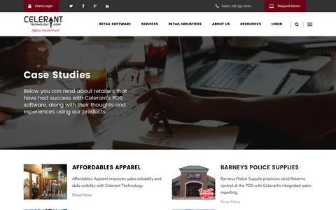 Screenshot of Case Studies Page celerant.com - Point of Sale Case Studies - Celerant Technology - captured May 17, 2017