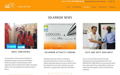Screenshot of Press Page solarnow.eu - News - SolarNow Uganda - captured Dec. 12, 2016
