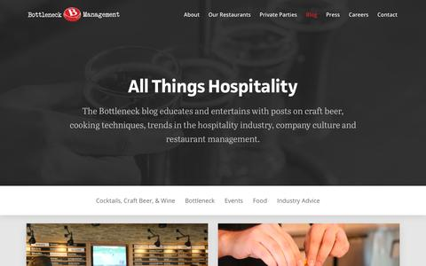 Screenshot of Blog bottleneckmgmt.com - Restaurant Industry Trends and Insights - The Bottleneck Blog - captured Oct. 6, 2018
