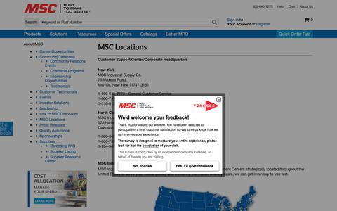 Screenshot of Locations Page mscdirect.com - MSC Industrial Supply Co. | Locations - captured Aug. 20, 2018