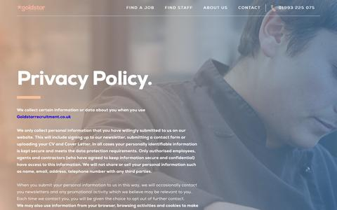 Screenshot of Privacy Page goldstarrecruit.co.uk - Privacy Policy - Gold Star Recruitment - captured Aug. 28, 2017