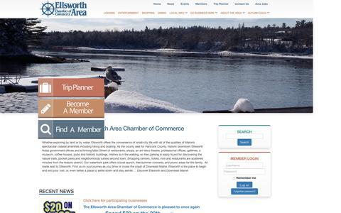 Screenshot of Home Page ellsworthchamber.org - Ellsworth Area Chamber Of Commerce - Ellsworth Maine Chamber of Commerce, Ellsworth Maine Hotels, Ellsworth Maine Real Estate, Restaurants in Ellsworth Maine - captured Jan. 28, 2016