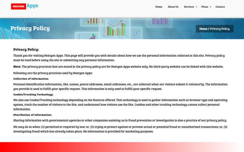 Screenshot of Privacy Page nextgen-apps.com - Privacy Policy    Nextgen Apps - captured Oct. 20, 2018
