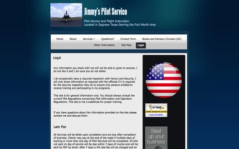 Screenshot of Terms Page pilotservice.us - Legal | Jimmy's Pilot Service | Jimmy Wille - captured Oct. 6, 2014