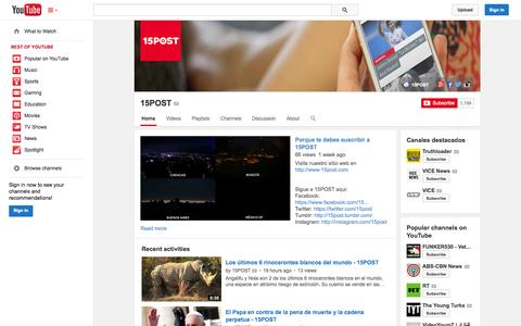 Screenshot of YouTube Page youtube.com - 15POST  - YouTube - captured Oct. 25, 2014