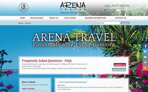 Screenshot of FAQ Page arenatravel.com - FAQs   Holidays, Tours, Breaks, Cruises with Arena Travel - captured Sept. 30, 2014