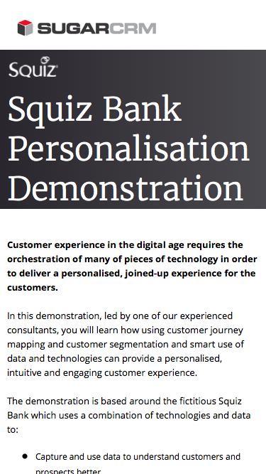 Squiz Bank Personalisation Demonstration Registration
