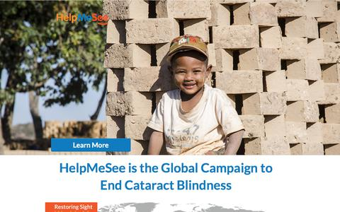 Screenshot of Landing Page helpmesee.org - HelpMeSee's Global Campaign to End Cataract Blindness - captured April 9, 2018