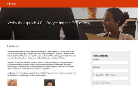 Screenshot of Landing Page office.com - Verkaufsgespräch 4.0 – Storytelling mit Office Sway - captured Dec. 12, 2016
