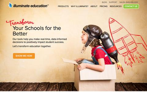 Screenshot of Home Page illuminateed.com - The Education Intelligence Platform - Illuminate Education - captured Feb. 10, 2016