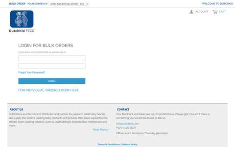 Screenshot of Login Page dutchkid.com - Customer Login - captured Nov. 9, 2018
