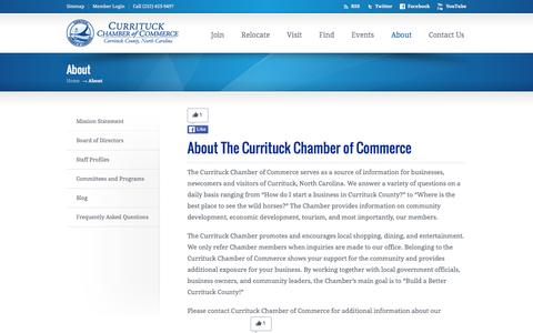 Screenshot of About Page currituckchamber.org - About The Currituck Chamber of Commerce, North Carolina  | Currituck Chamber, NC - captured March 3, 2016