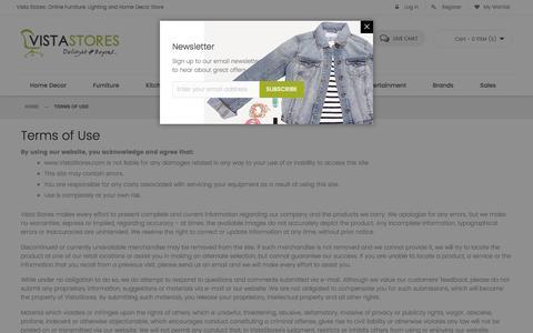 Screenshot of Terms Page vistastores.com - Terms of Use - captured Dec. 11, 2016