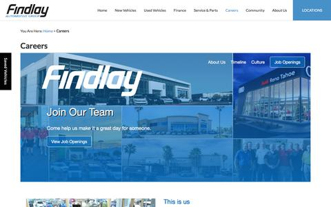 Screenshot of Jobs Page findlayauto.com - Dealership Automotive Jobs | Findlay Auto Group - captured Oct. 13, 2017