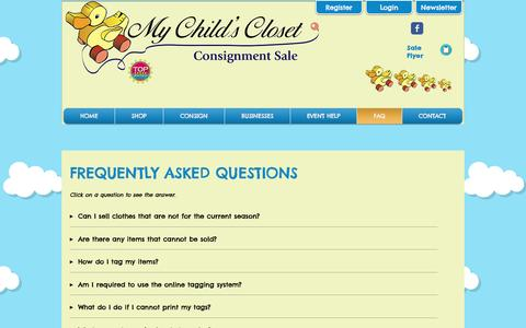 Screenshot of FAQ Page mychildscloset.com - My Child's Closet: Loudoun Co's Premier Children's Consignment Sale! | FAQ - captured Dec. 6, 2016