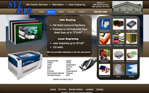 Screenshot of Services Page sylfab.com - SylFab CNC Router Services,plastic and wood fabrication,Green Bay Wisconsin,Little Suamico - captured Nov. 18, 2016