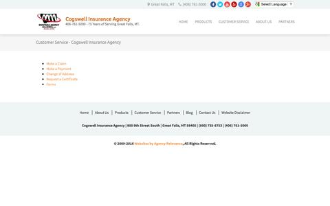 Screenshot of Support Page cogswellinsurance.com - Customer Service - Cogswell Insurance Agency - captured Nov. 8, 2016