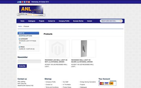 Screenshot of Products Page anllighting.com.au - Products - captured Oct. 29, 2014