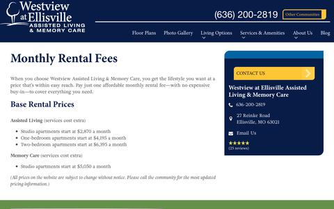 Screenshot of Pricing Page spectrumretirement.com - Monthly Rental Pricing   Westview at Ellisville Assisted Living & Memory Care - captured Nov. 25, 2018