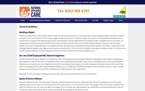 Screenshot of Terms Page nationalappliancecare.co.uk - Terms & Conditions - National Appliance Care - captured Oct. 20, 2018