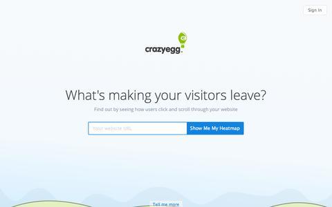 Screenshot of Home Page crazyegg.com - Crazy Egg Dashboard - captured Oct. 2, 2015