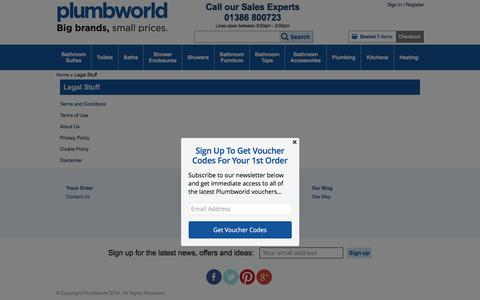 Screenshot of Terms Page plumbworld.co.uk - Legal Stuff - Plumbworld - captured Aug. 27, 2016