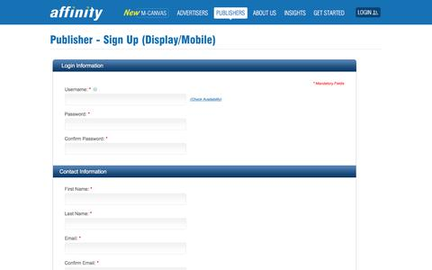 Screenshot of Trial Page affinity.com - Sign up for Innovative Display Monetization| Affinity - captured Nov. 12, 2019