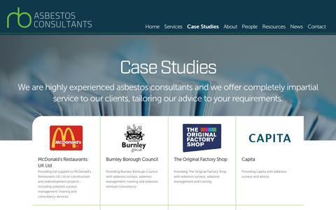 Screenshot of Case Studies Page rbasbestos.co.uk - Case Studies - RB Asbestos Consultants - captured Dec. 2, 2016