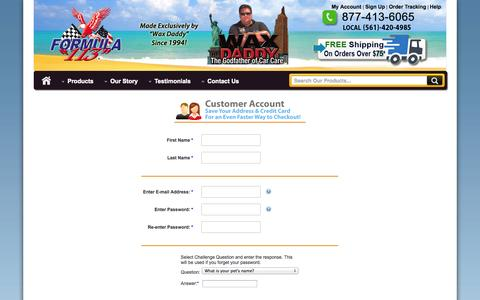 Screenshot of Signup Page formula113.com - Formula 113 - New Customer Sign-Up - captured Oct. 29, 2014