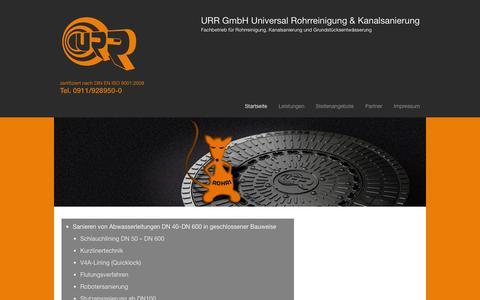 Screenshot of Home Page urr-nbg.de - URR GmbH - captured Oct. 4, 2014