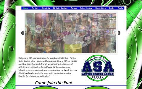 Screenshot of Home Page austinsportsarena.com - Home - captured Aug. 2, 2015