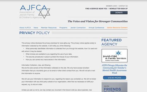 Screenshot of Privacy Page ajfca.org - Association of Jewish Family & Children's Agencies (AJFCA) - Privacy Policy - captured Feb. 6, 2016
