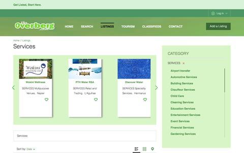 Screenshot of Services Page theoverberg.com - Services - captured Dec. 2, 2016