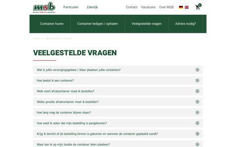 Screenshot of FAQ Page msb.nu - Veelgestelde vragen - captured July 26, 2018