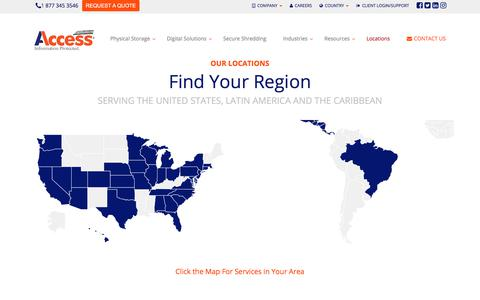 Screenshot of Locations Page informationprotected.com - Serving the United States, Latin America, and the Caribbean - Access Business Records and Document Management - Shredding - Storage - Scanning - Digital - captured Sept. 19, 2017