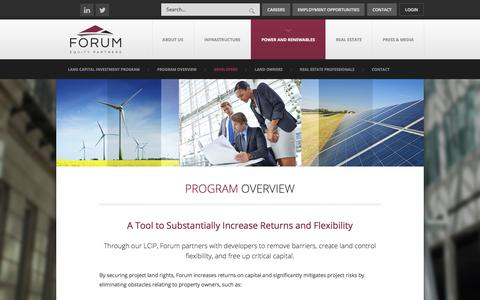Screenshot of Developers Page forumequitypartners.com - Program Overview «  Forum Equity Partners | Extraordinary Outcomes™ - captured Aug. 20, 2018