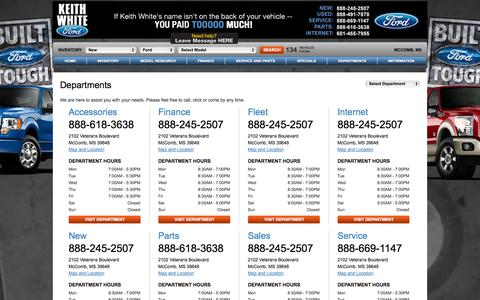 Screenshot of Hours Page dealerconnection.com - Ford Dealership | South Mississippi | Business Hours & Phone Numbers - captured Nov. 3, 2014