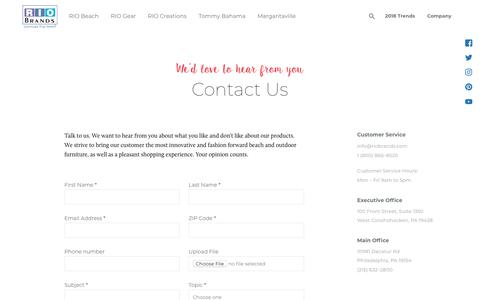 Screenshot of Contact Page riobrands.com - RIO Brands | Contact Us | Outdoor Furniture | Beach Chairs - captured Oct. 4, 2018