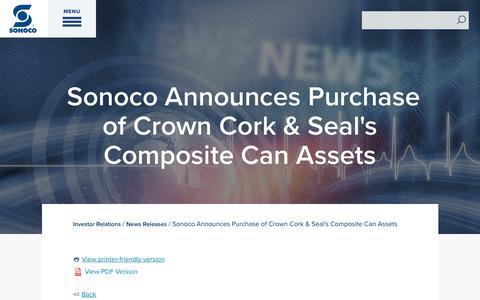 Screenshot of Press Page sonoco.com - Sonoco Announces Purchase of Crown Cork & Seal's Composite Can Assets | Sonoco - captured Nov. 5, 2019