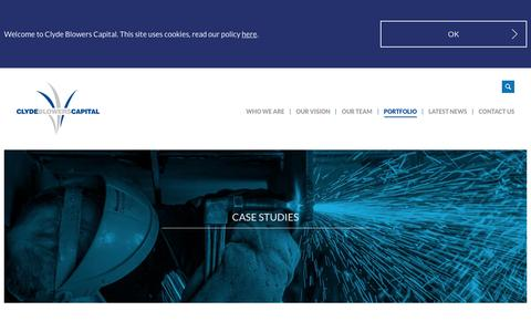 Screenshot of Case Studies Page clydeblowerscapital.com - Case Studies | Our Portfolio | Clyde Blowers Capital | Clyde Blowers Capital - captured July 14, 2016