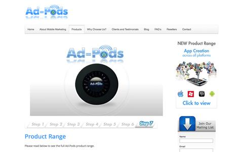 Screenshot of Products Page ad-pods.com - Product Range Overview | Bluetooth Products | Ad-pods - captured Feb. 5, 2016